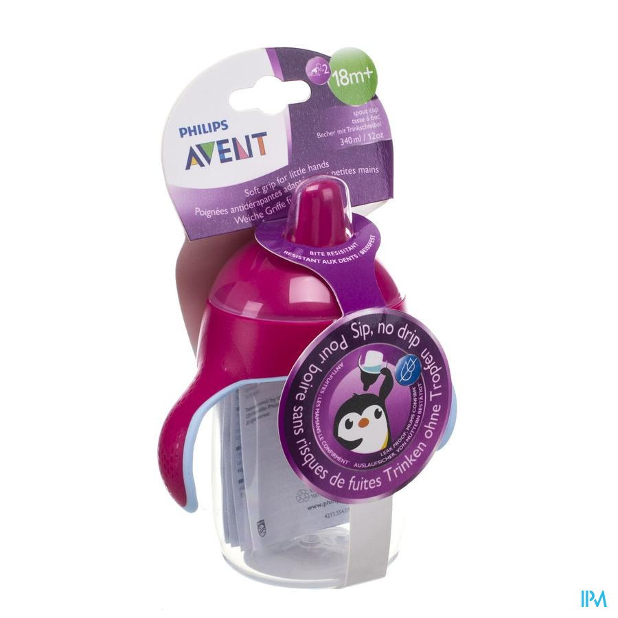 Philips Avent Gobelet Anti Fuite Pinguin Rose 340ml Scf755/07