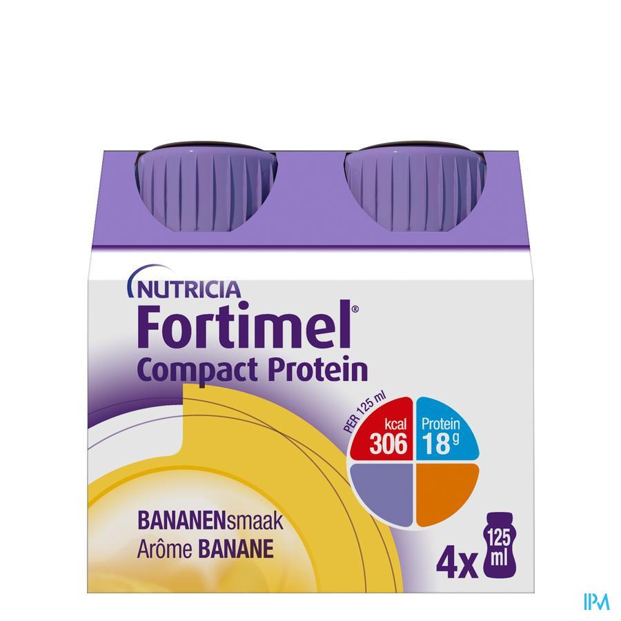 Fortimel Compact Protein Banaan Flesjes 4x125 ml