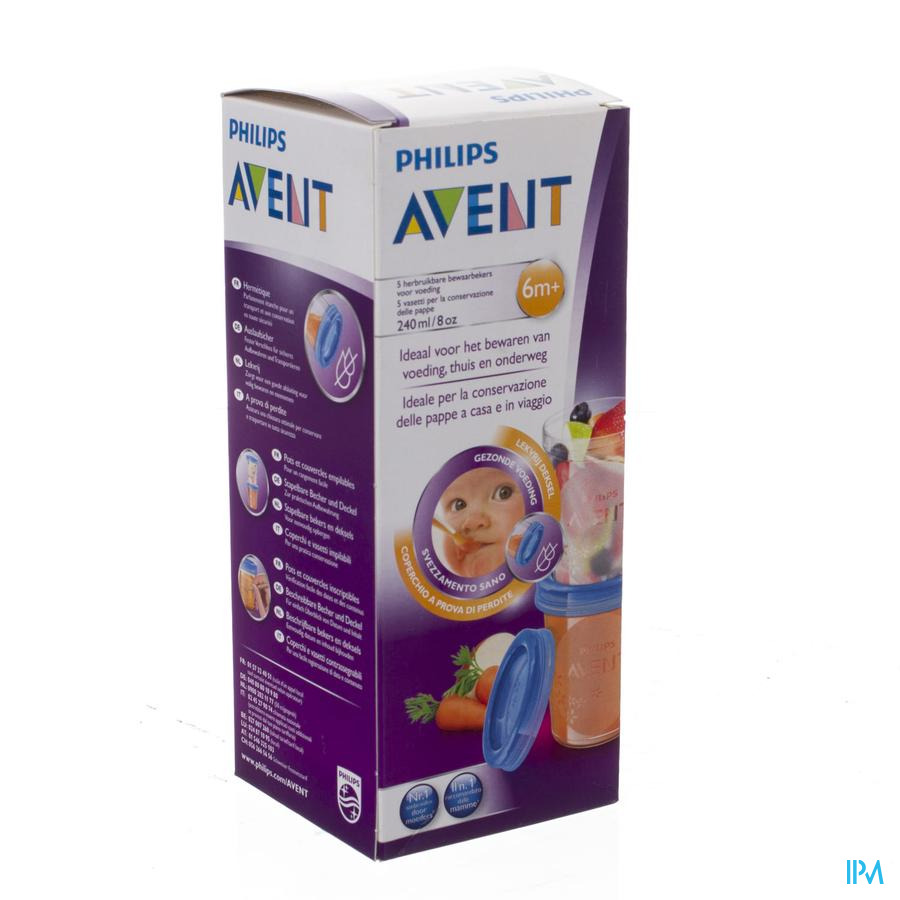 Philips Avent Via Natural Set Bewaarbeker 240ml SCF639/05