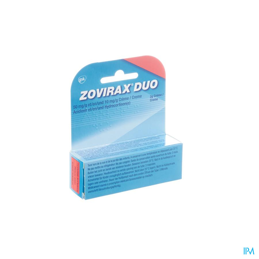Zovirax Duo 50mg/g + 10mg/g Creme Tube 2g