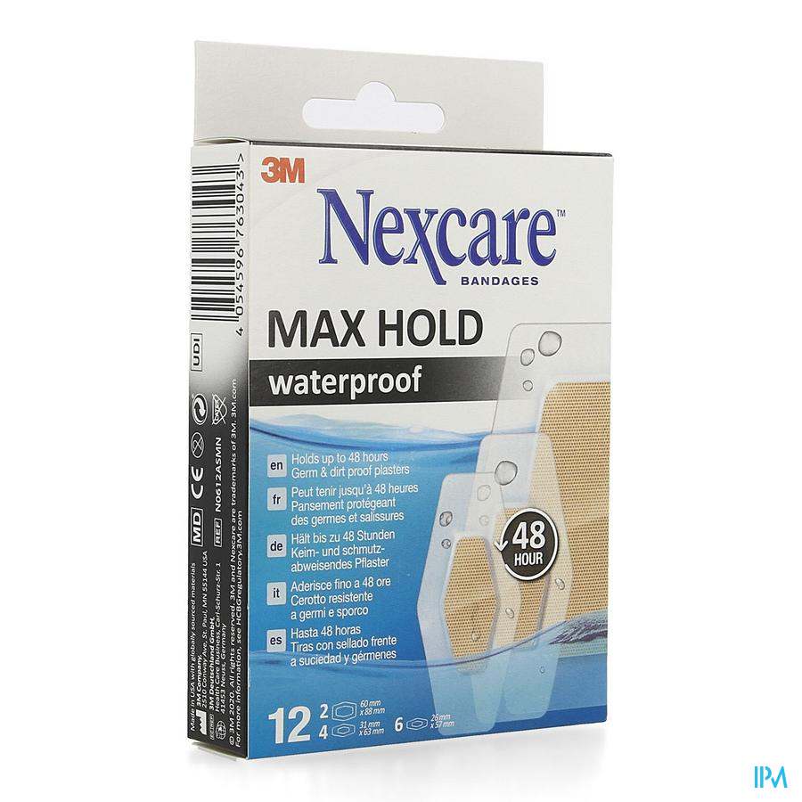 Nexcare 3m Maxhold Wtp Assortiment 3 Tailles 12