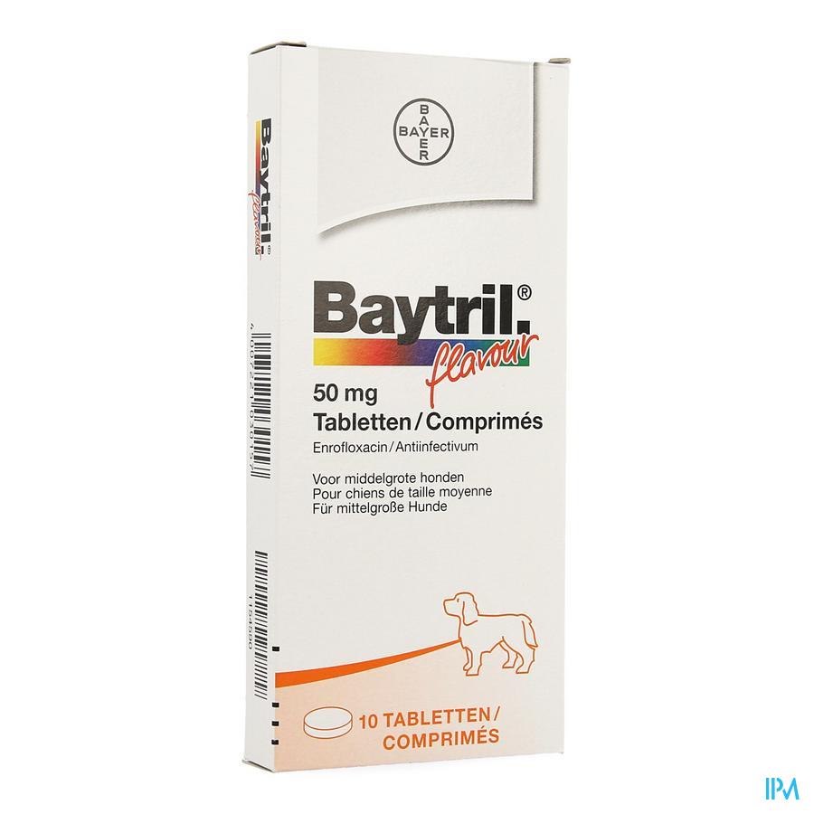 Baytril Flavour Hond/kat Tabl 10 X 50mg