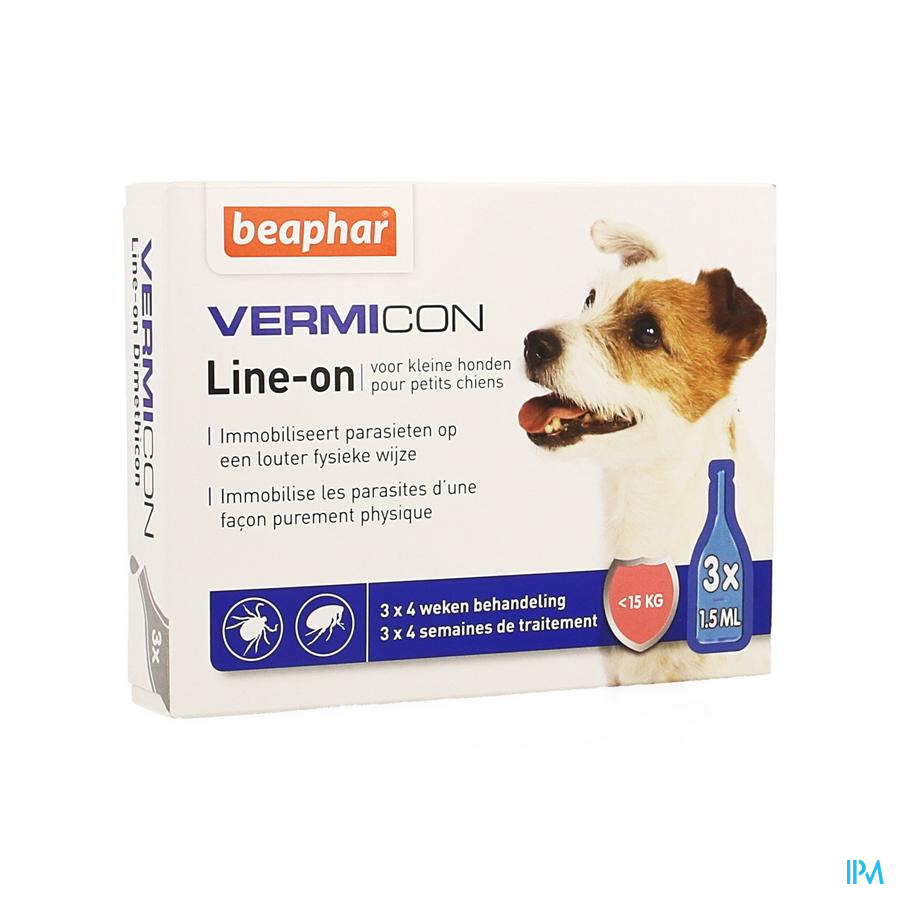 Beaphar Vermicon Line-on Kleine Hond 3x1,5ml