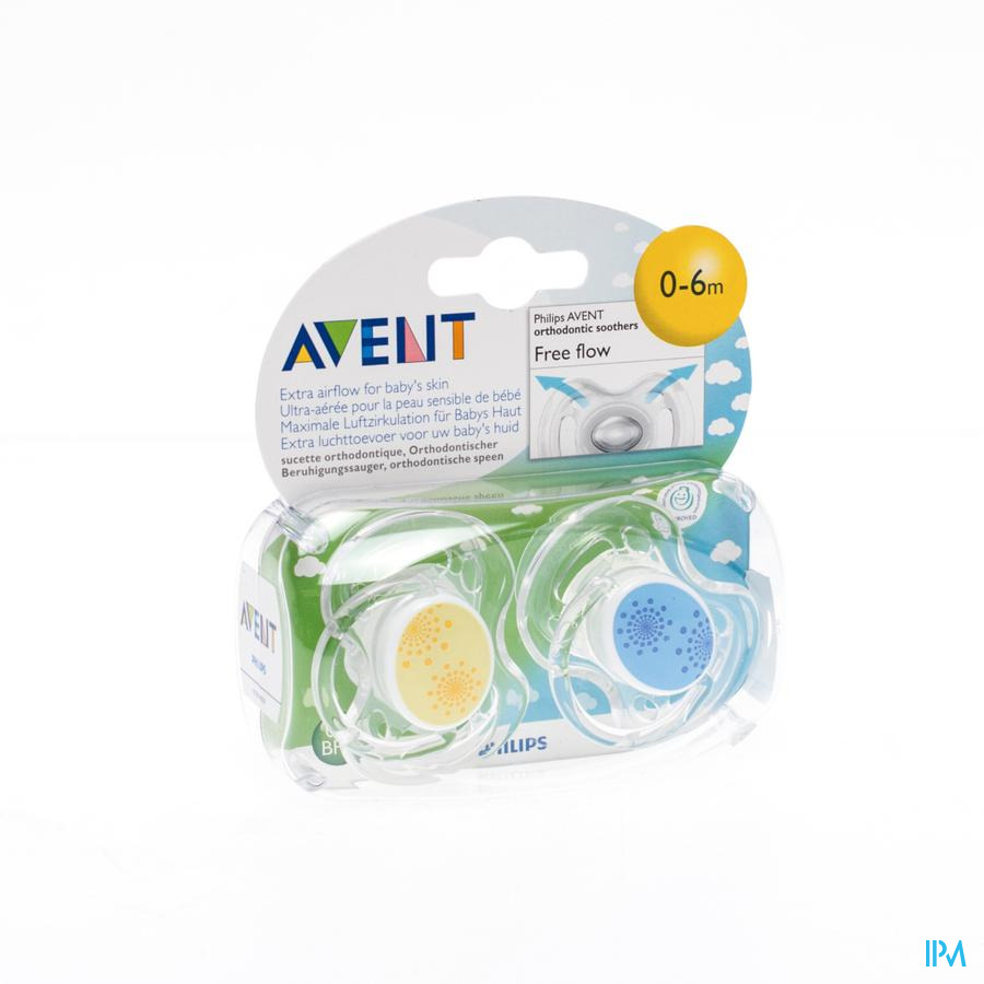Avent Sucette Free Flow Tendens Sil Double 0- 6m 2