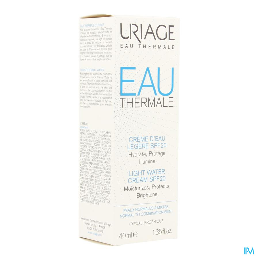 Uriage Thermaal Water Creme Licht Water Ip20 40ml
