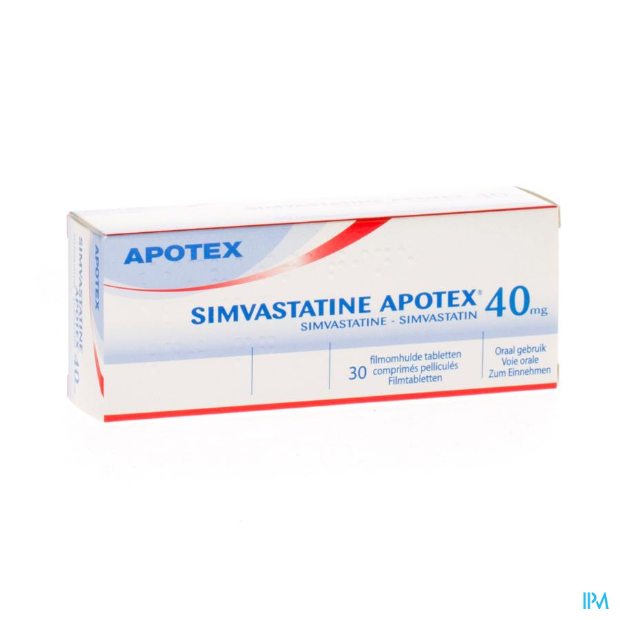 Simvastatine Apotex 40mg Comp Pell 30 X 40mg