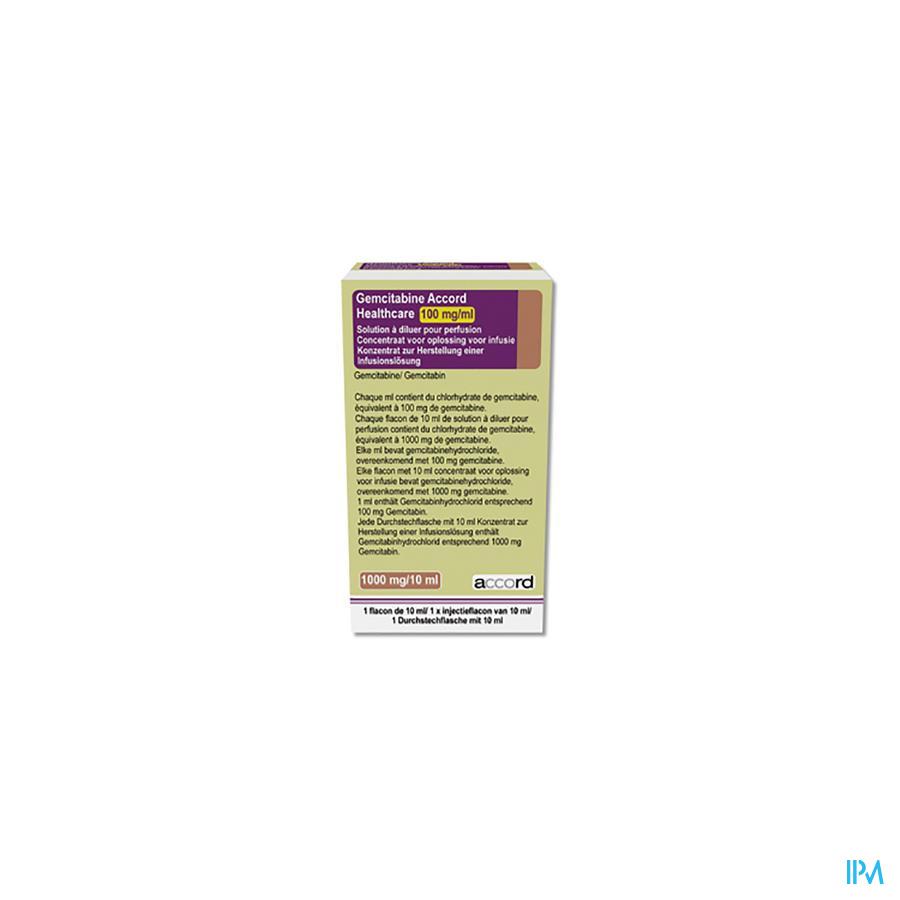 Gemcitabine Accord Healthcare Solution Perfussie à Diluer I.V. 1x 1 gr/10 ml