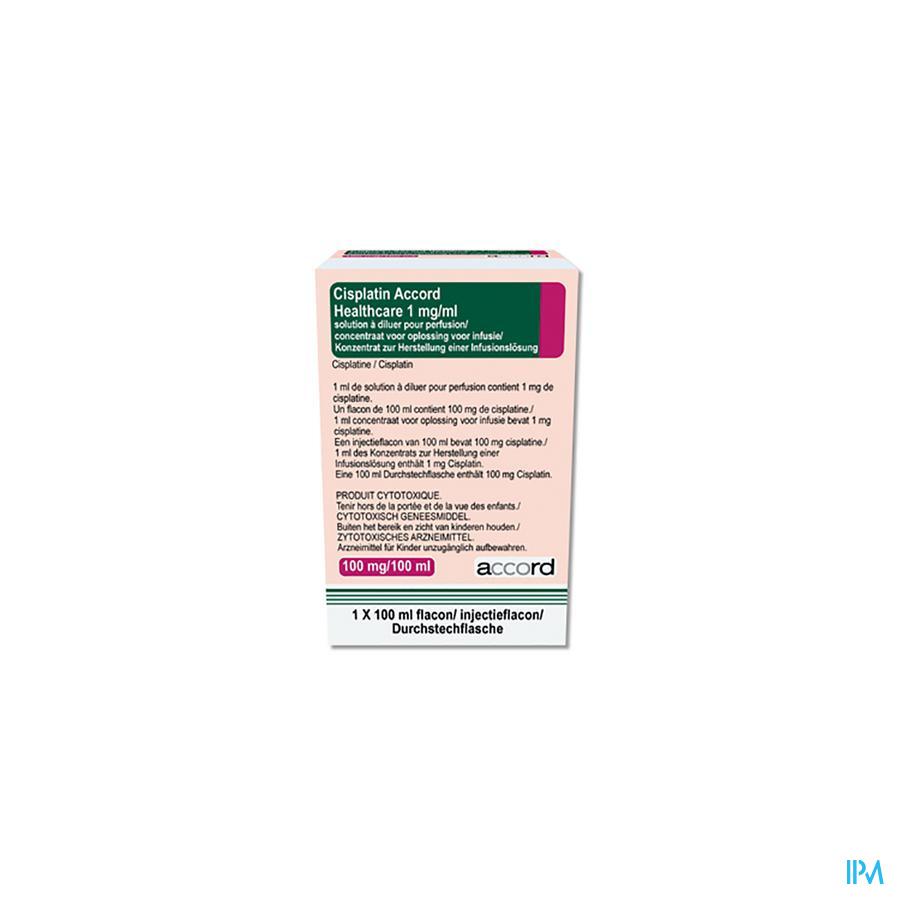 Cisplatin Accord Healthcare Inf. Oplossing (conc.) I.V. 1x 100 mg/100 ml