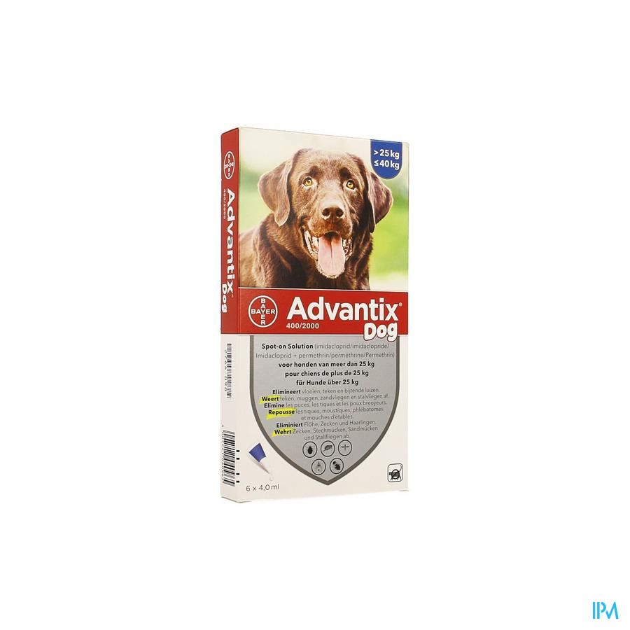 Advantix 400/2000 Chiens 25<40kg Flacon 6x4,0 ml