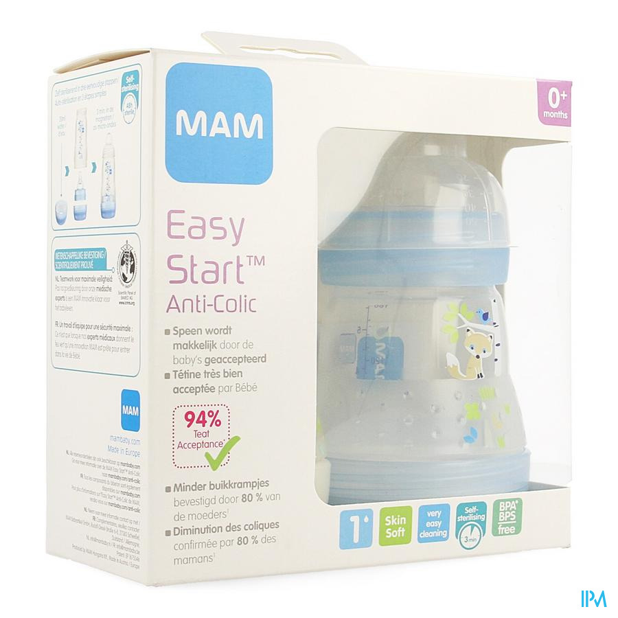 Mam Zuigfles Easy Start A/colic 160ml Jongen 2pack