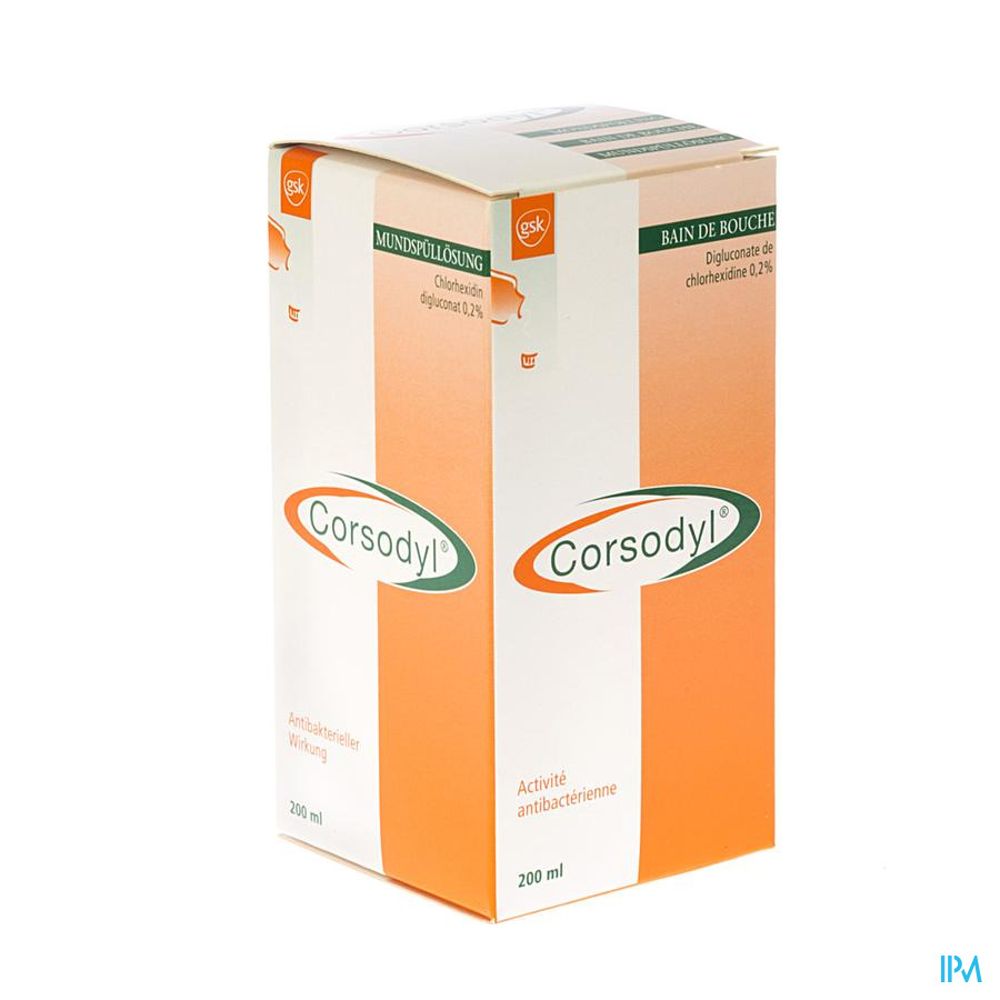 Corsodyl 2mg/ml Sol Bain Bouche 200ml