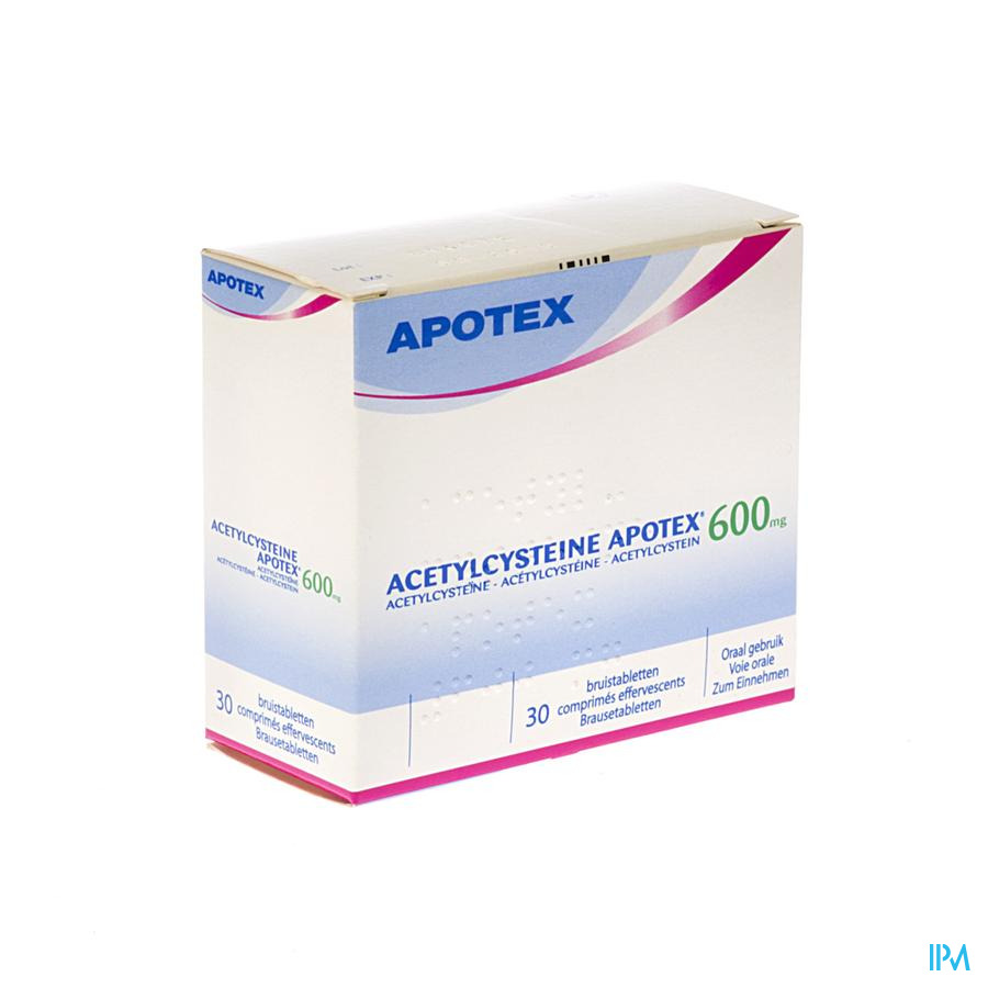 Acetylcysteine Apotex Comprimés Effervescents 30 X 600 mg
