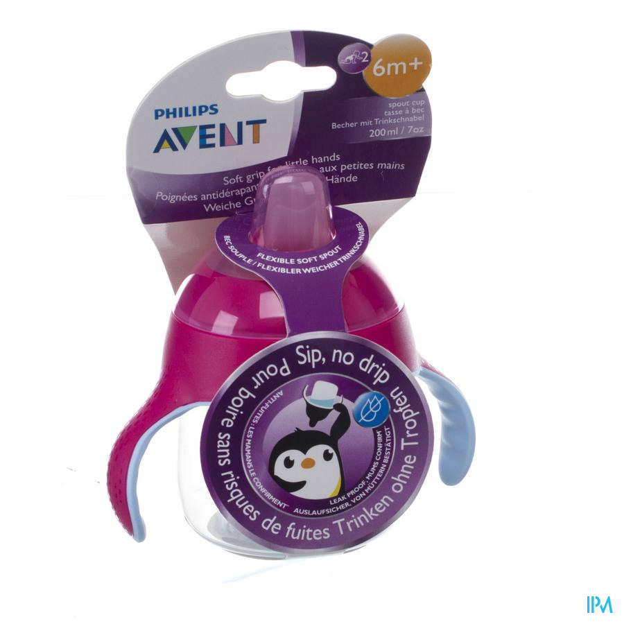 Philips Avent Gobelet Anti Fuite Pinguin Rose 200ml SCF751/07