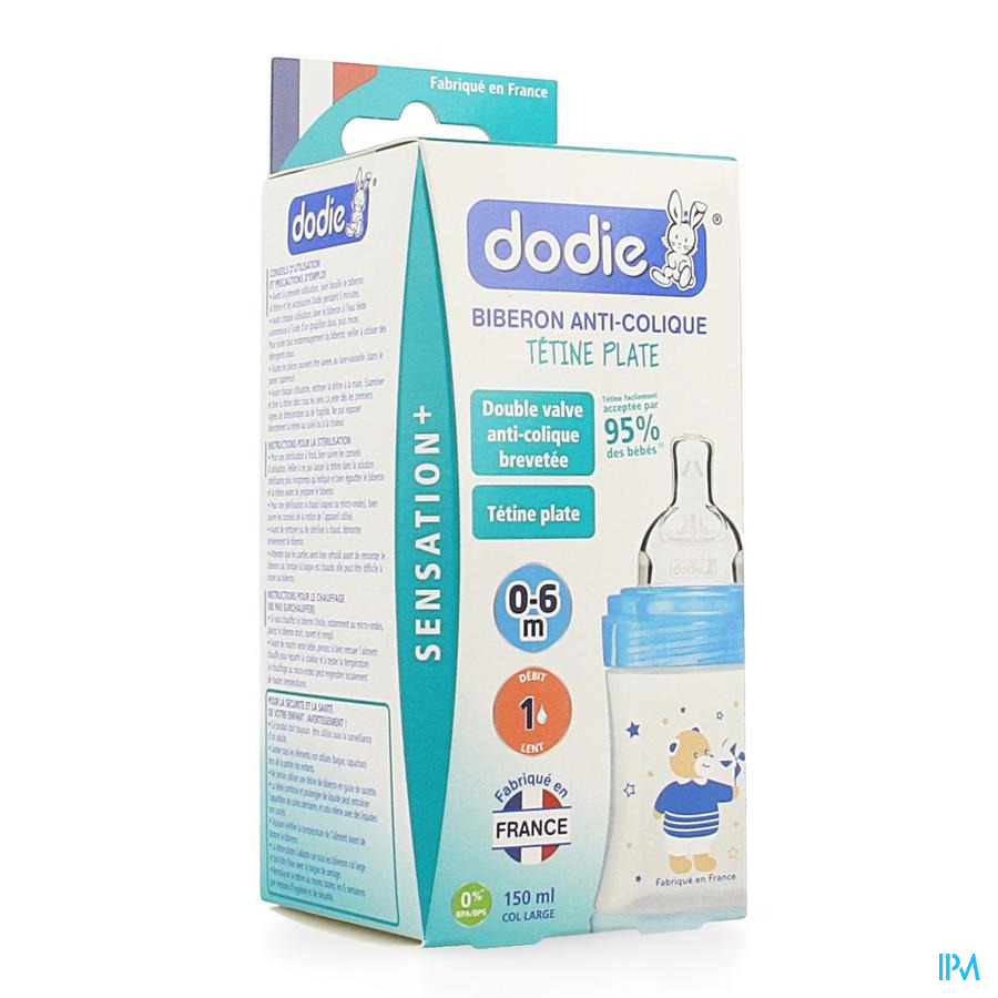 Dodie Zuigfles Sensation+ Blauwe Beer 0-6m 150ml