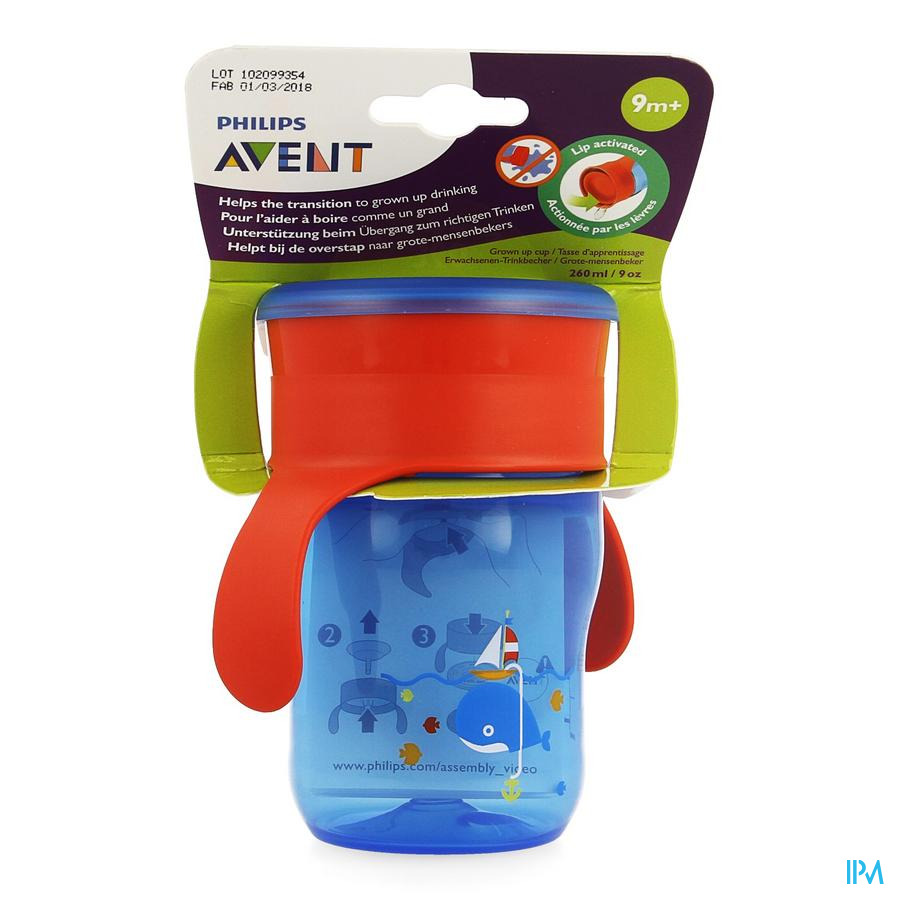 Philips Avent Grow-up Cup Rose Bleu 260ml SCF782/20