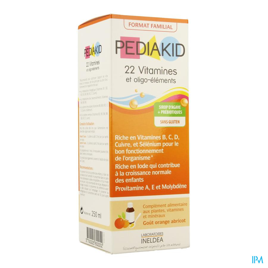 Pediakid 22 Vitamines Oligo Element. Sol Buv 250ml