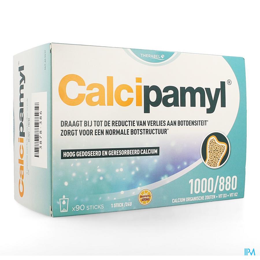 Afbeelding Calcipamyl 1000/880 met Calcium, Vitamine D3 en Vitamine K2 voor Bijdrage aan Normale Botstructuur - Stick met Sinaasappelaroma - 90 Stuks.