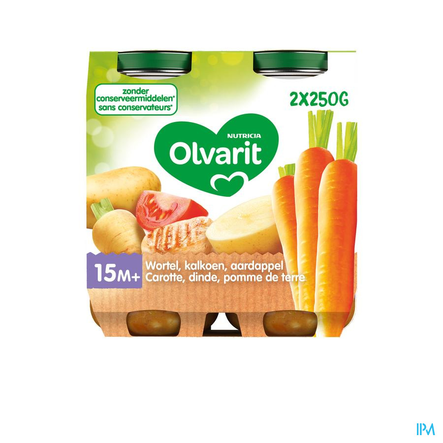Olvarit Wortelstoemp Kalkoen 2x250g 15m00
