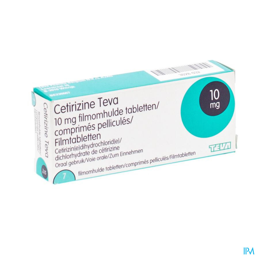 Cetirizine Teva 10 mg Filmomhulde Tabletten 7