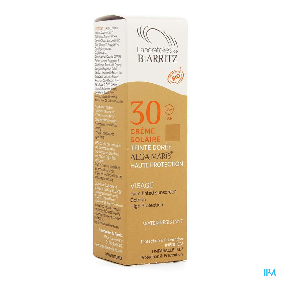 Alga Maris Creme Solaire Visage Ip30 Doree 50ml