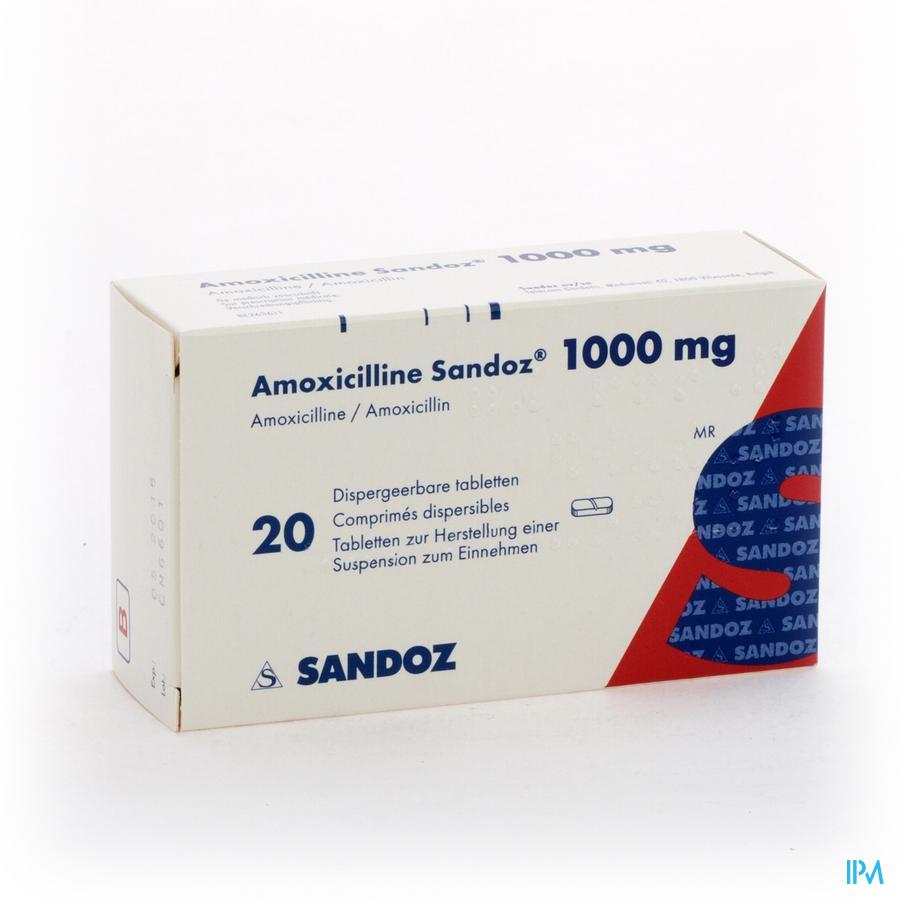 Amoxicilline Sandoz 1000mg Tabl Disp 20