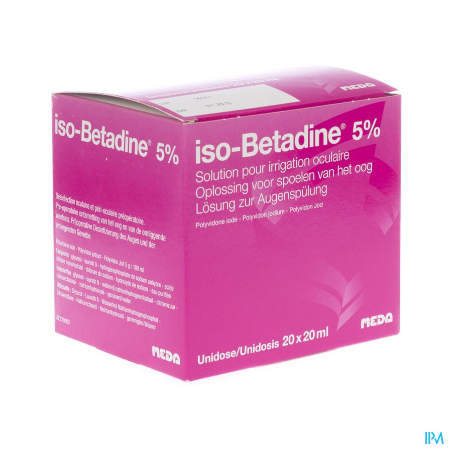 Iso Betadine Solution Oculaire-spoelen Oog 20udx20 ml 5%