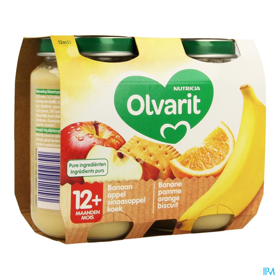 Olvarit Banane Pomme Orange Biscuit 2x200g 12m51