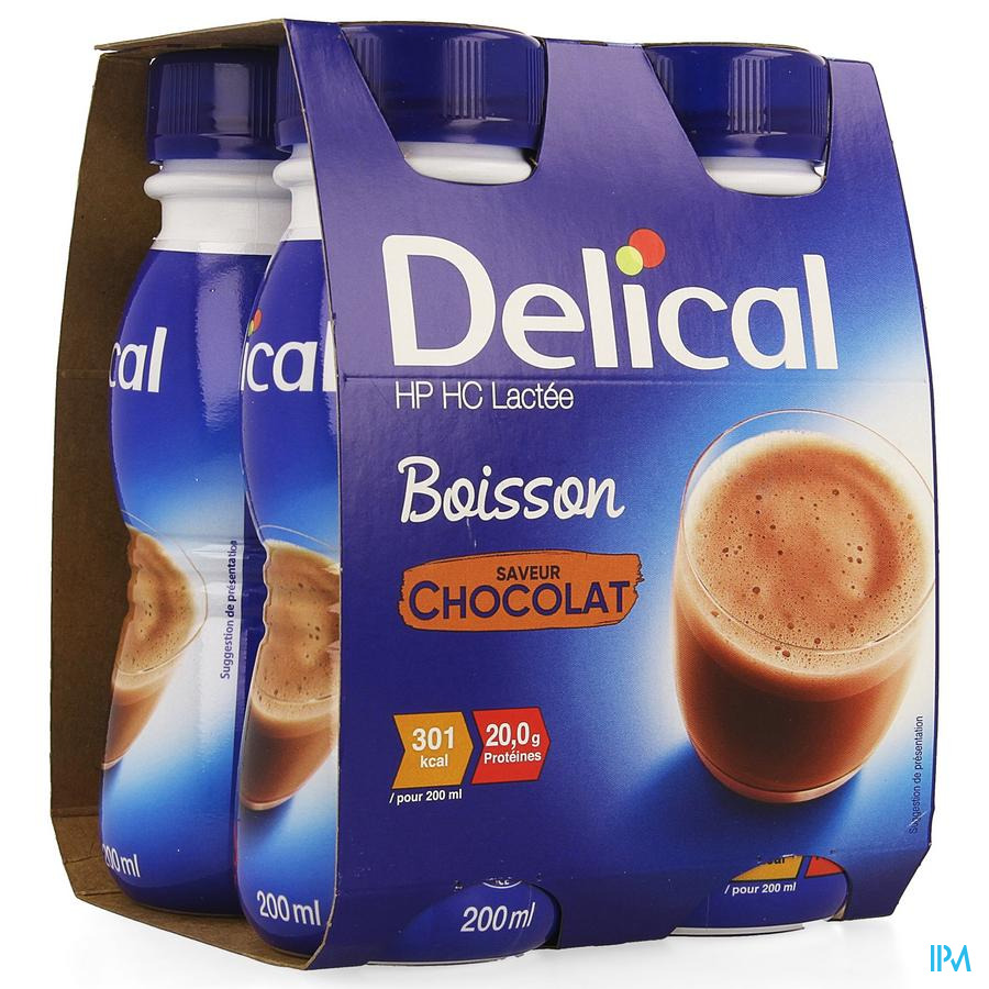 Delical Boisson Lactee Hp-hc Chocolat 4x200ml
