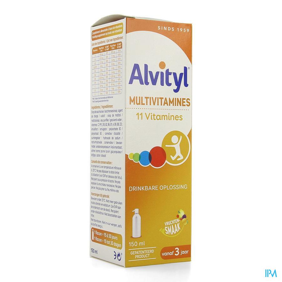 Afbeelding Alvityl Multivitamines met 11 Vitamines voor Fitheid en Evenwicht en Vitaliteit Pompflacon 150 ml.