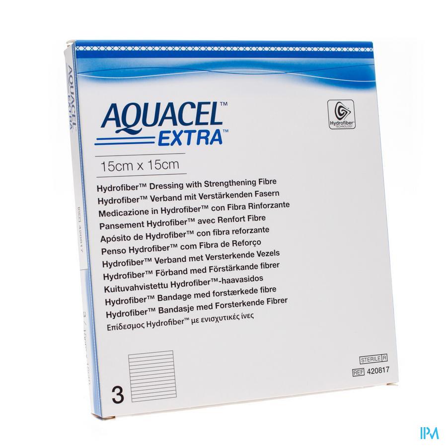 Aquacel Extra Verb Hydrofiber+versterk. 15x15cm 3