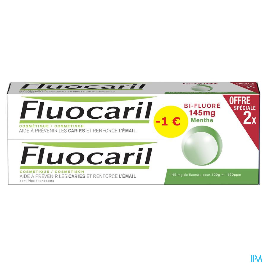 Fluocaril Bi-fluore 145 Munt Duo 2x75ml Promo -1€