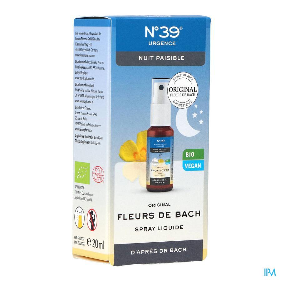 Bachbloesem Bio N°39 Noodgevallen Nacht Spray 20ml
