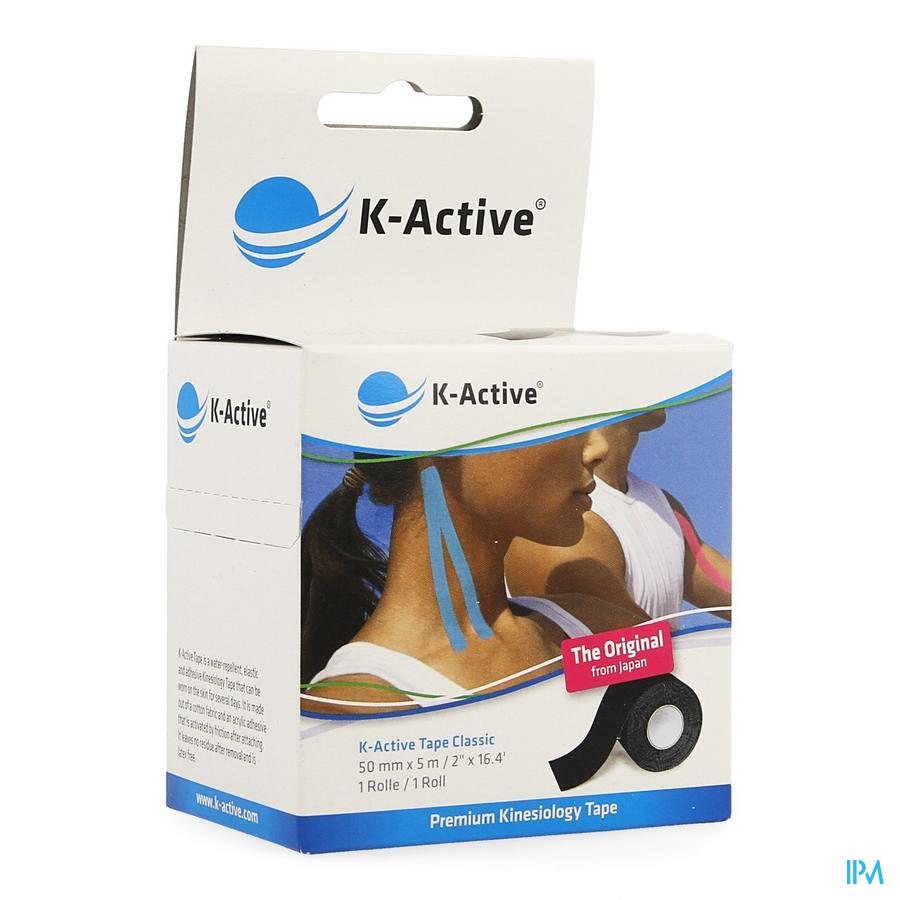 K-active Tape Black 5,0cmx5m kopen doe je voordelig hier