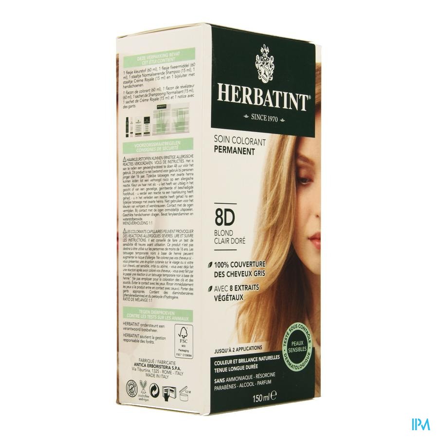 herbatint blond clair dore 8d - Coloration Pharmacie