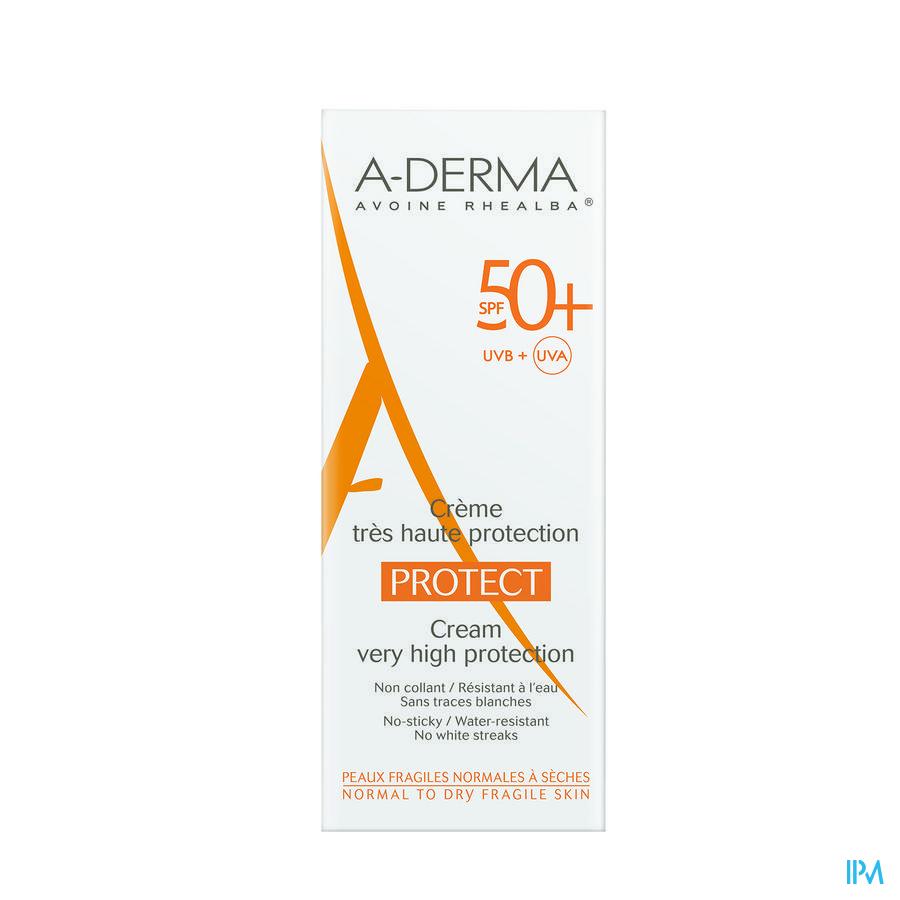 Afbeelding Aderma Protect Crème met SPF 50+ Waterresistent en zonder Witte Strepen voor Gevoelige Normale tot Droge Huid Tube 40 ml.