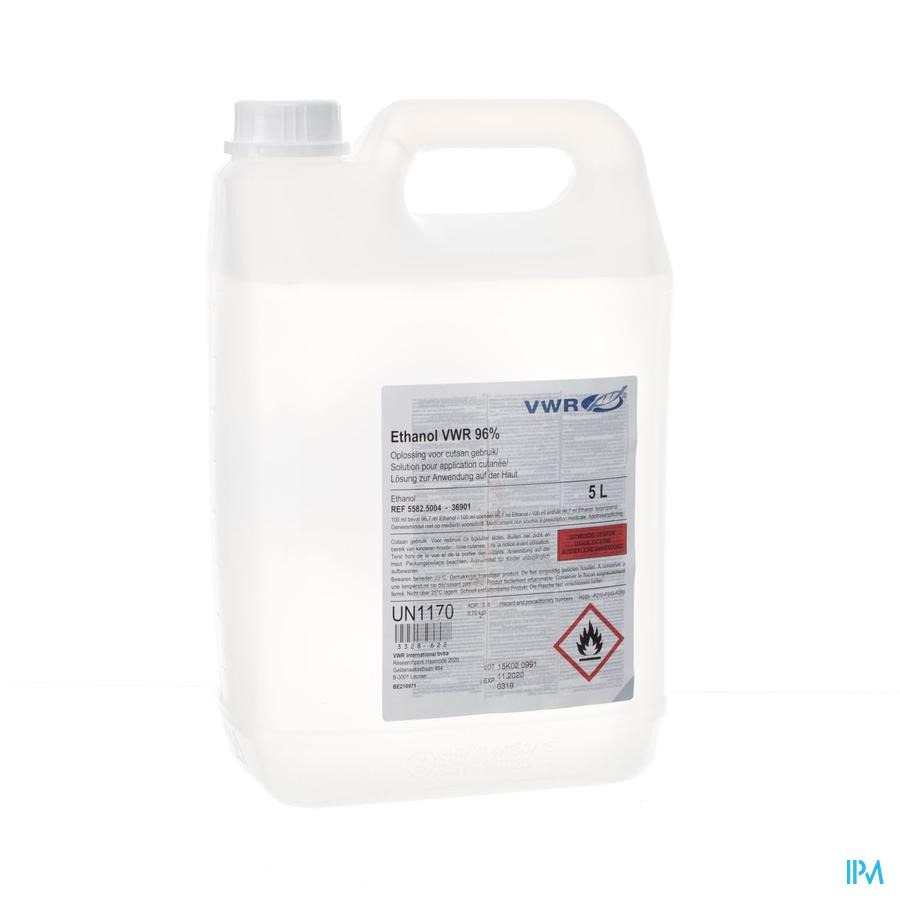 Ethanol Vwr 96% Oplossing Voor Cutaan Gebruik Flacon 5l