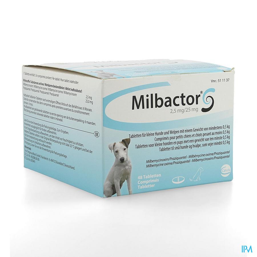 Milbactor 2,5mg/25mg Comp 48