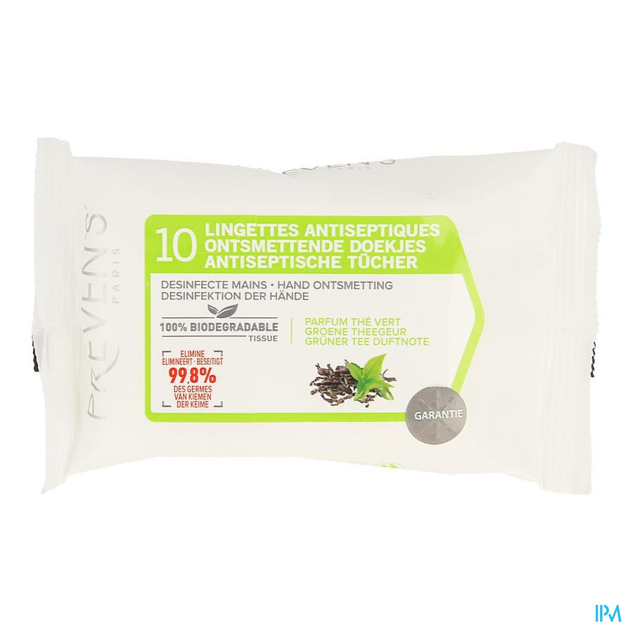 Preven's Lingettes A/septique The Vert Pocket 10