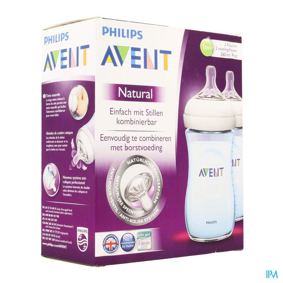 Avent Zuigfles Natural Blauw Duo 2x260ml