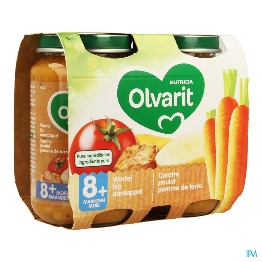 Olvarit Wortel Kip Puree 2x200g 8m01