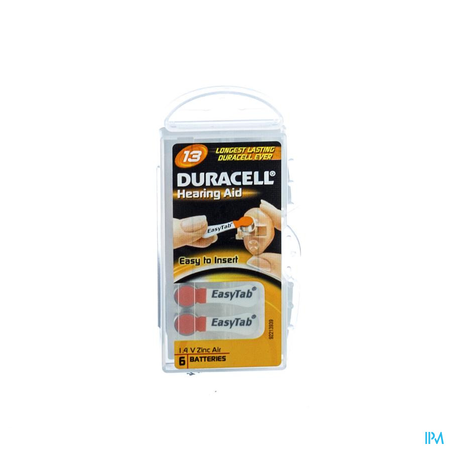 Duracell Easytab Pile Auditive Da13 6 Orange