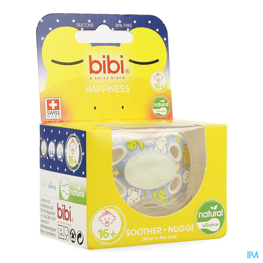 Bibi Sucette Hp Natural 4 Friends Glow Dark +16M