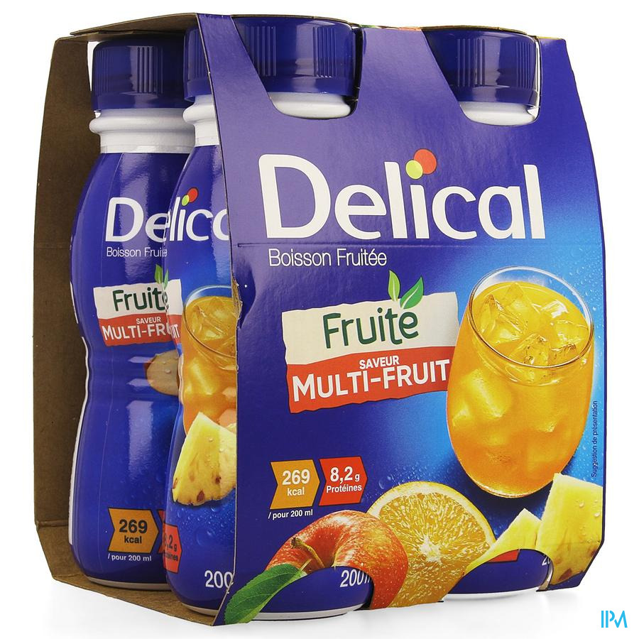 Delical Fruitdrink Multivruchten 4x200ml
