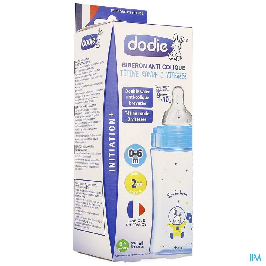 Dodie Zuigfles Initiatie+ Blauw Kosmonaut 270ml