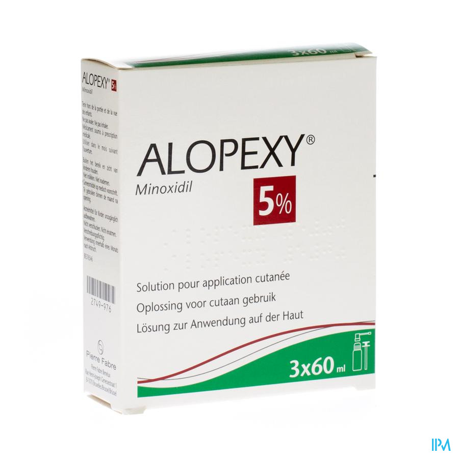 Alopexy 5 % Liquid Fl Plast Pipet 3x60ml