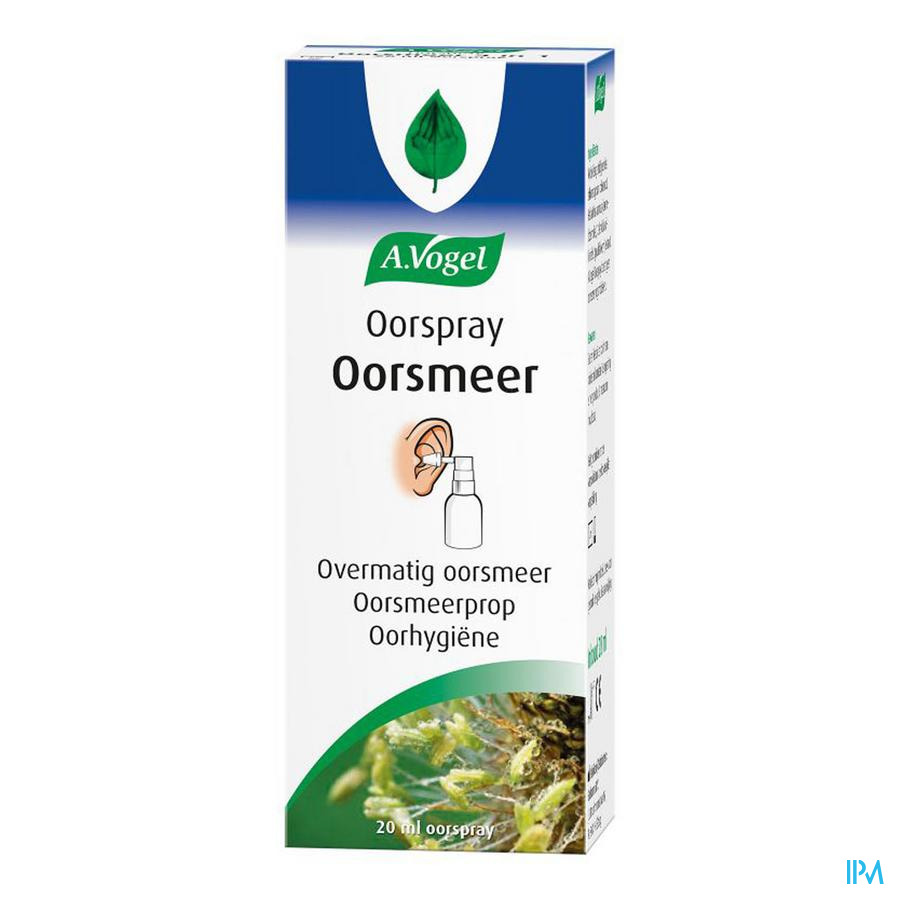 Afbeelding A. Vogel Oorspray 'Oorsmeer' bij Overmatig Oorsmeer, Oorsmeerprop en voor Oorhygiëne Flacon 20 ml.