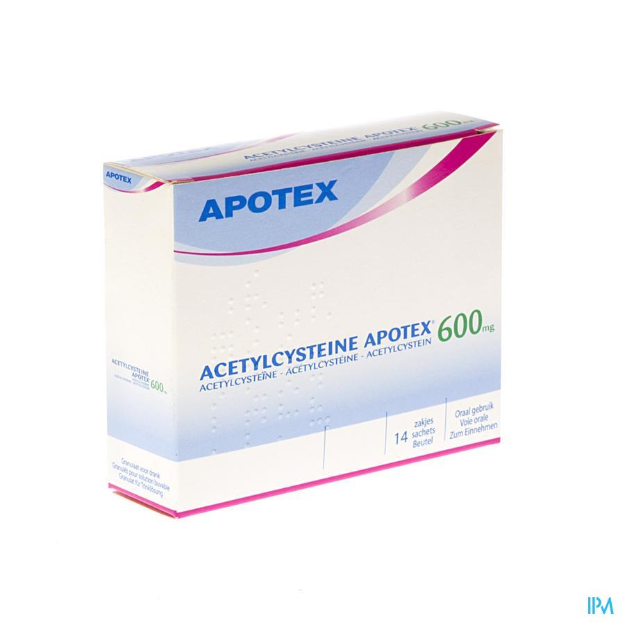 Afbeelding Acetylcysteïne Apotex 600mg 14 zakjes.