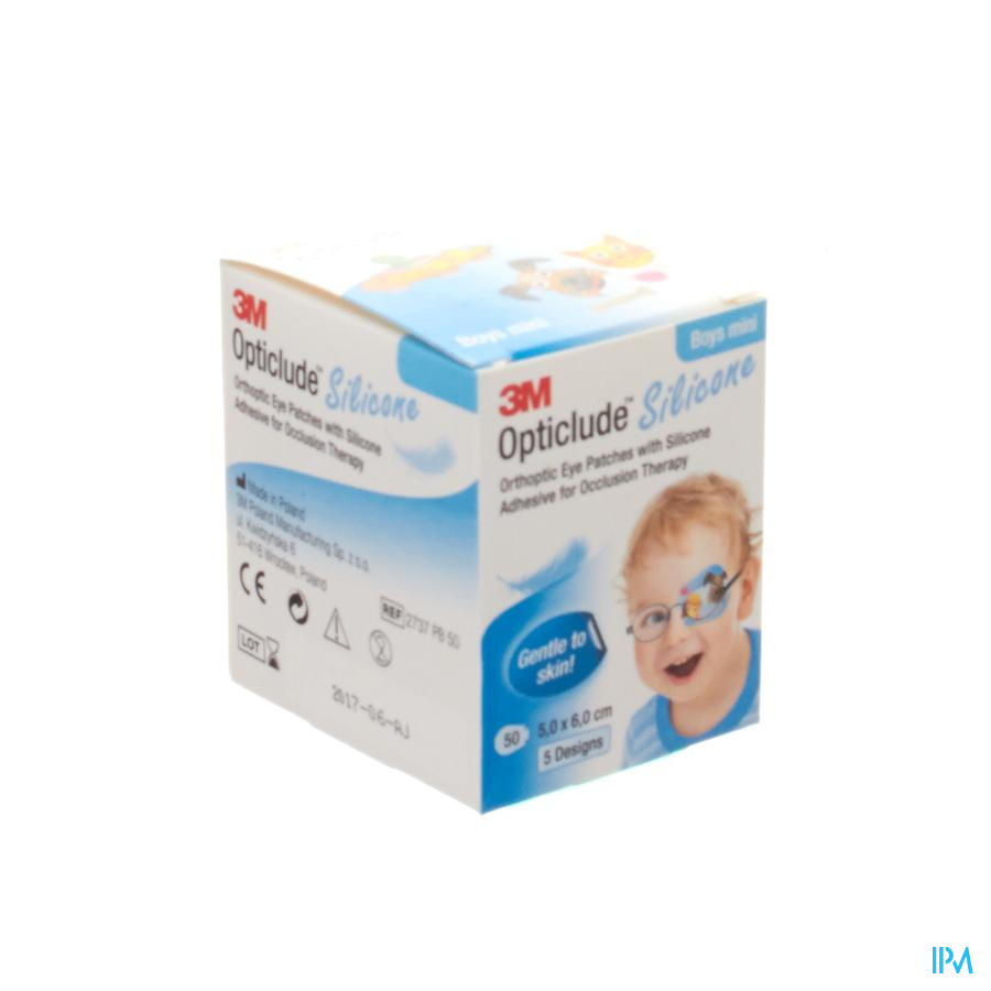 Opticlude Silicone Pansement Orthoptique Mini Boys 50mm X 60mm