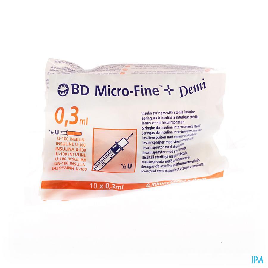 Bd Microfine+ Ins.sp Demi 0,3ml 30g 8mm 10 324826