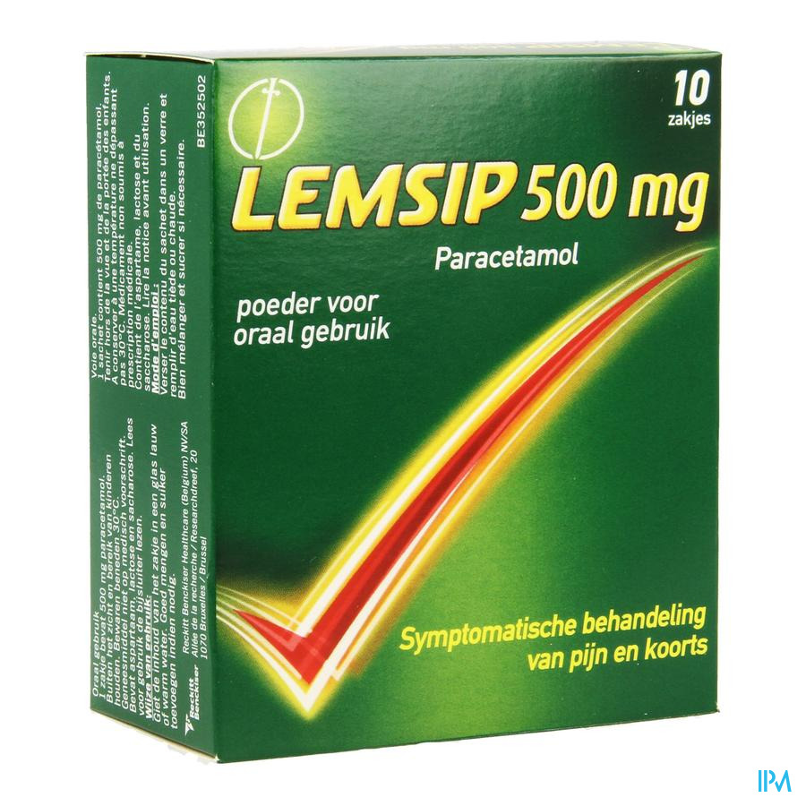 Afbeelding Lemsip 500 mg Paracetamol Citroensmaak 10 Zakjes.